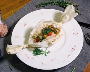 法式紅條石斑紙包魚套餐